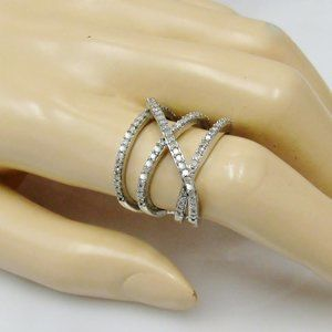 Diamond Highway Ring Sterling Silver Size 7